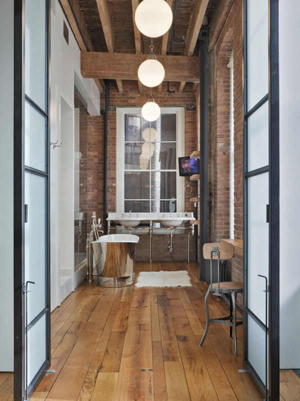 Rustic Industrial Bathroom with exposed brick