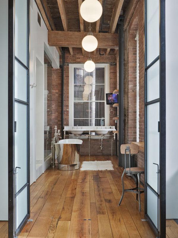 Rustic Industrial Bathroom with exposed brick