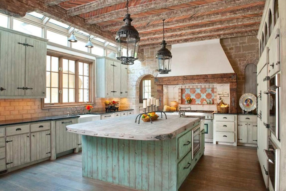 Rustic Design, Rustic Style Turquoise Kitchen