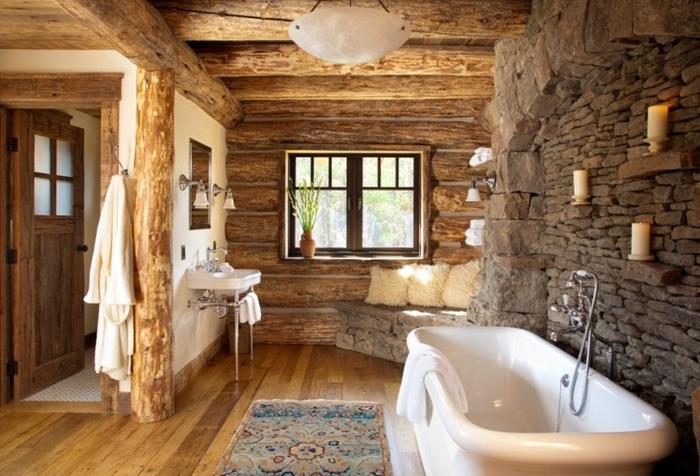 rustic design, rustic style bathroom-wood-beams