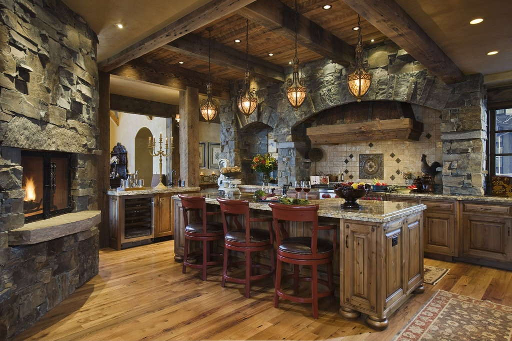 rustic design rustic style kitchen-with-exposed-beams-and-breakfast & Rustic Design + Industrial Design: Marrying Design Styles - Builders ...
