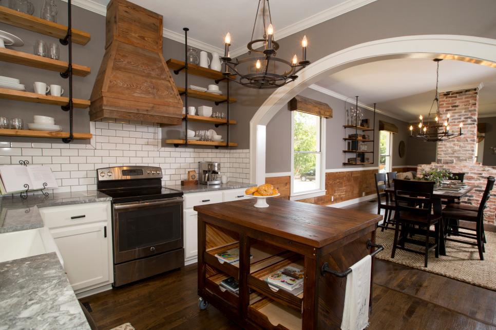 Fixer upper style shelves