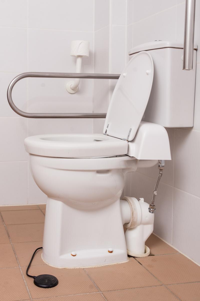 Toilet-handle comfort height toilet