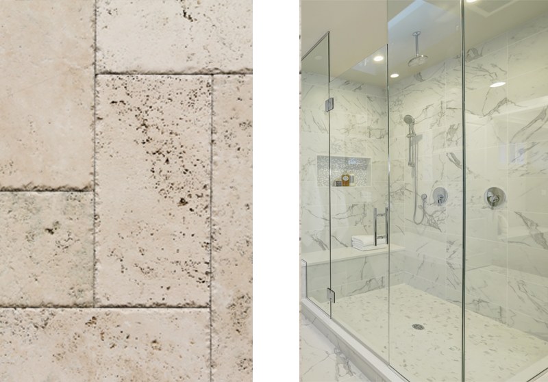 Travertine-and-Marble tile flooring