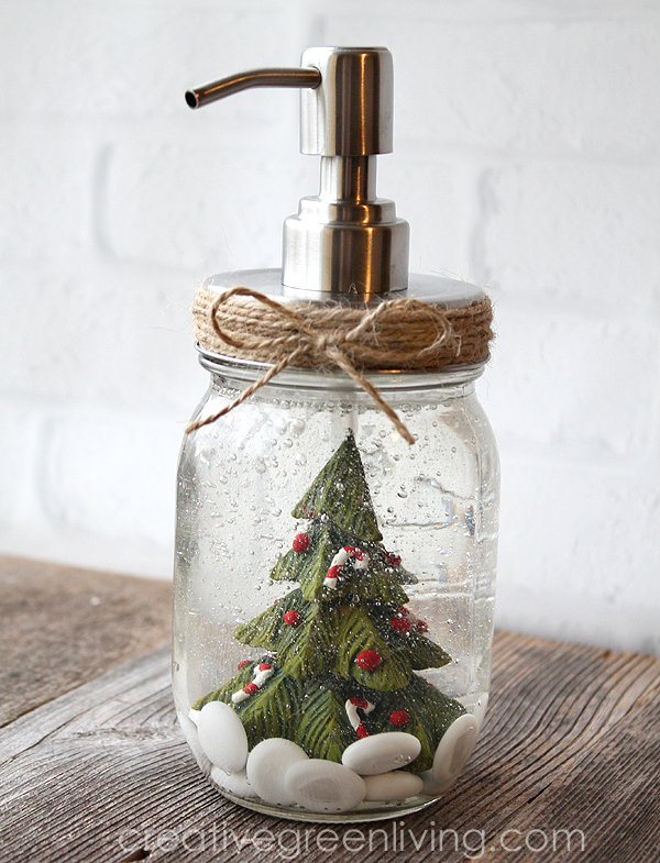 DIY christmas decorations - snow globe soap dispenser