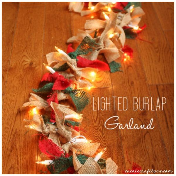 Diy Christmas Decorations - Lighted burlap Garland