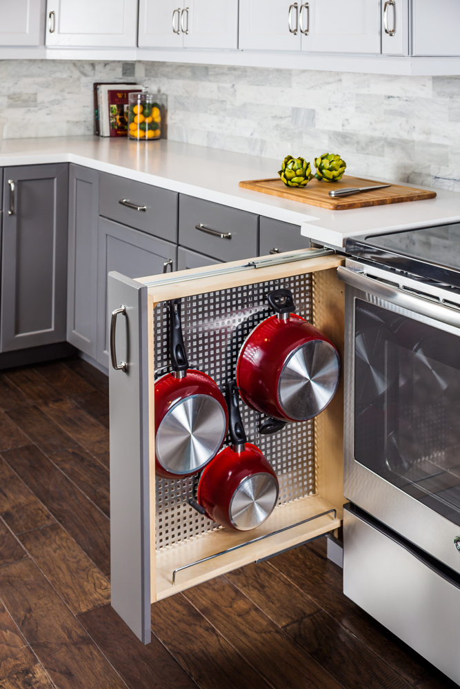 Declutter your kitchen - pull out pot racks