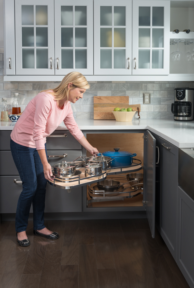 Declutter your kitchen - pull out corner cabinets