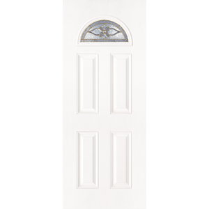 "36"" White Fiberglass Provence Fan Lite Single Prehung Left Hand Entry Door Fiberglass Entry Doors at Builders Surplus in Louisville"