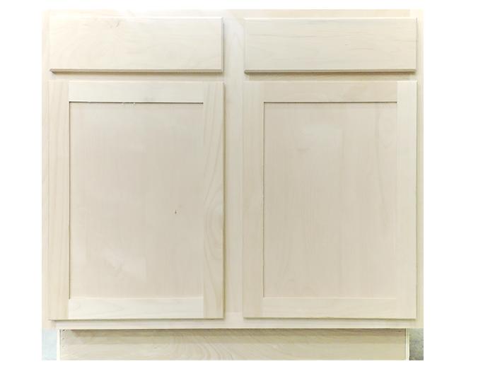34.5 x 36 x 24 Unfinished Alder Shaker Base Kitchen Cabinet ...