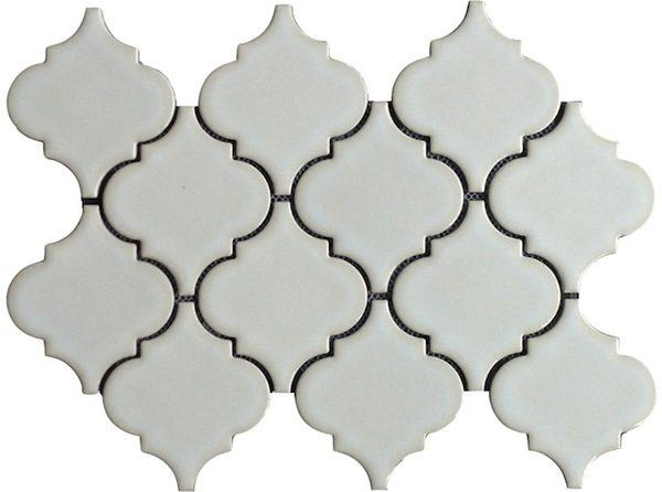 Highland Park Antique White Arabesque Porcelain Mosaic Tile  at Builders Surplus in Louisville Kentucky