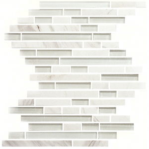 12 X 12 Bianco Carrara Amp Glass Random Mosaic Tile