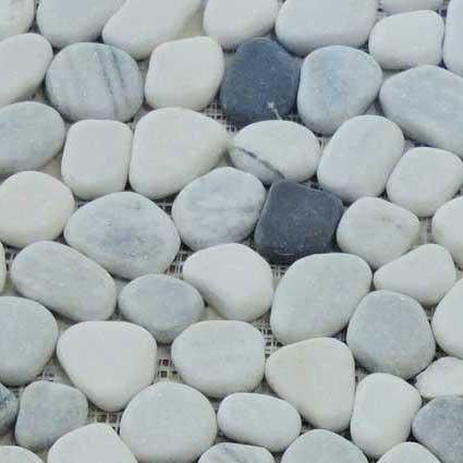 Black & White Pebbles Mosaic Tile at Builders Surplus in Louisville Kentucky