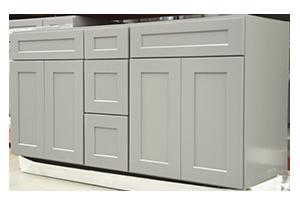 60 Quot Double Grey Shaker Vanity W 3 Center Drawers