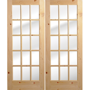 """72"""" Knotted Pine 15 Lite French Interior Prehung Doors Fiberglass Entry Doors at Builders Surplus in Louisville"""