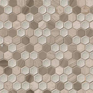 12 x 12 White Oak Hexam Blend Hexagon Mosaic Tile  at Builders Surplus in Louisville Kentucky
