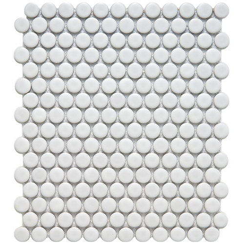 Bright White Penny Round Ceramic Mosaic Tile at Builders Surplus in Louisville Kentucky