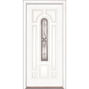 "36"" White Fiberglass Provence Center Arch Single Prehung Right Hand Entry Door Fiberglass Entry Doors at Builders Surplus in Louisville"