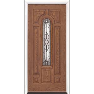 "36"" Medium Oak Fiberglass Stellar Center Arch Single Prehung Left Hand Entry Door Fiberglass Entry Doors at Builders Surplus in Louisville"