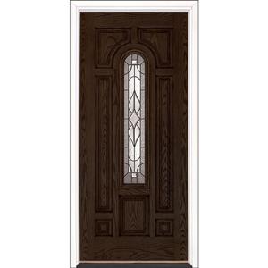 "36"" Walnut Oak Fiberglass Stellar Center Arch Single Prehung Right Hand Entry Door Fiberglass Entry Doors at Builders Surplus in Louisville"
