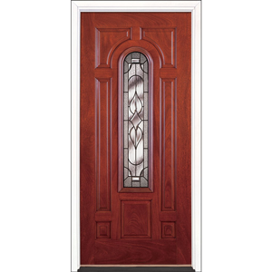 "36"" Cherry Mahogany Fiberglass Stellar Center Arch Single Prehung Left Hand Entry Door Fiberglass Entry Doors at Builders Surplus in Louisville"