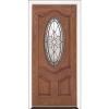 "36"" Medium Oak Fiberglass Stellar Oval Single Prehung Left Hand Entry Door Fiberglass Entry Doors at Builders Surplus in Louisville"