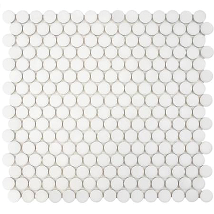 Matte White Penny Round Mosaic Tile at Builders Surplus in Louisville Kentucky