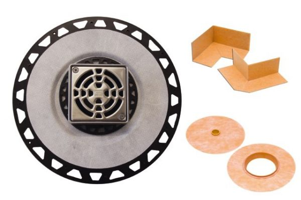 """Schluter Drain PVC 2"""" Flange 4"""" Grate in Stainless Steel"""