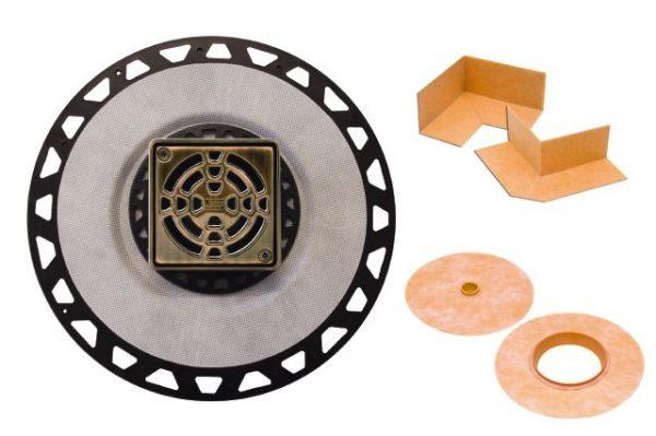 "Schluter Drain PVC 2"" Flange 4"" Grate Oil Rubbed Bronze"