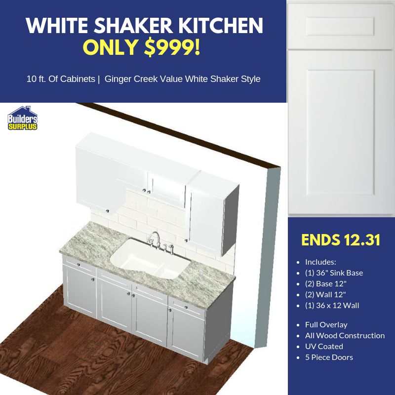 ONLY $999 White Shaker Cabinet