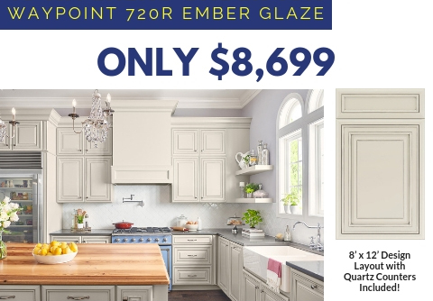 10. Waypoint 720 Ember Glaze Cabinets with Quartz Countertops