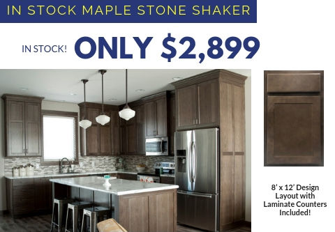 2. Maple Stone Shaker Cabinets With Laminate Countertops