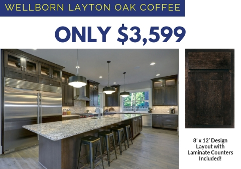 4. Wellborn Layton Oak Cabinets with Laminate Countertops