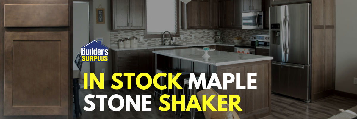 In stock maple stone shaker cabinets at Builders Surplus