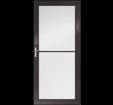 """Andersen 36"""" Fullview Retractable Glass & Aluminum Single Black Exterior Prehung Left Hand Storm Door at Builders Surplus in Louisville"""