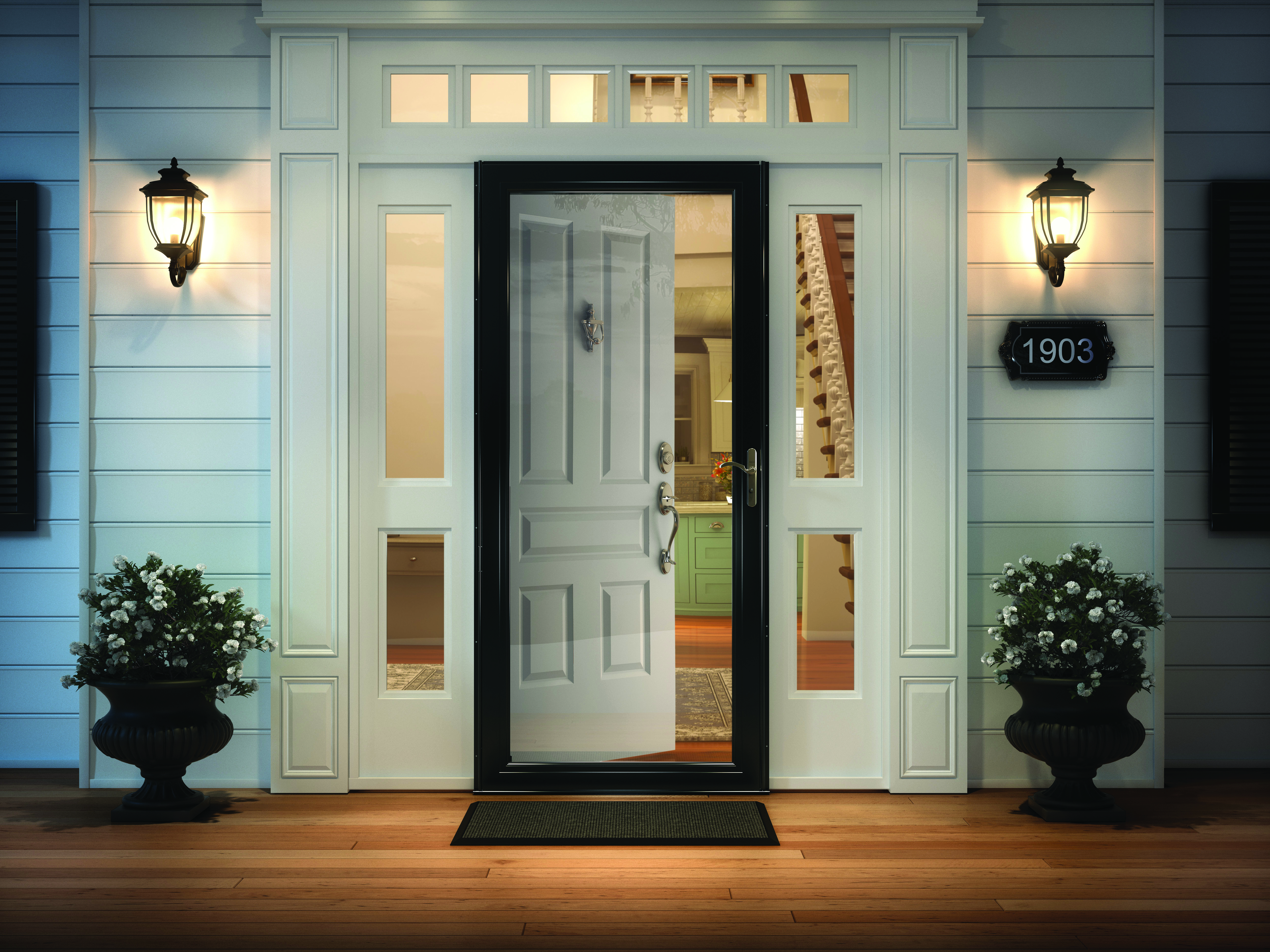 Andersen 8 Series Fullview Interchangeable Storm Door in Black with Nickel hardware