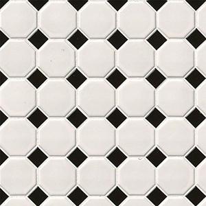 White & Black Matte Octagon Mosaic Tile at Builders Surplus in Louisville Kentucky