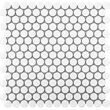 Bright White Penny Round Mosaic Tile at Builders Surplus in Louisville Kentucky