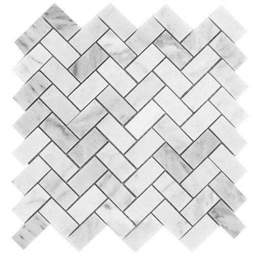 Herringbone Carrara Marble Polished Mosaic Tile at Builders Surplus in Louisville Kentucky