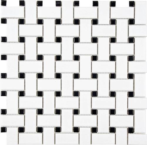 Ceramic White Basket Weave Mosaic Tile  at Builders Surplus in Louisville Kentucky