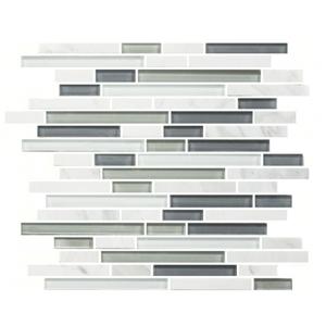 Bianco & Glass Random Strip Mosaic Mesh Tile at Builders Surplus in Louisville Kentucky
