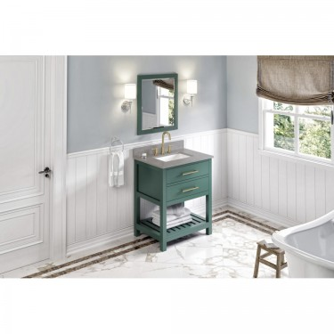 """Wavecrest 30"""" Forest Green Vanity with Steel Gray Cultured marble top"""