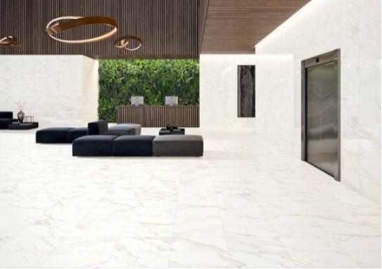 Ainslee Park Calacatta Gold 12 x 24 Porcelain Tile Room Shot