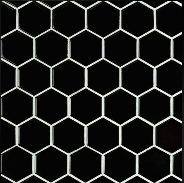 Black Hexagon Glossy Porcelain
